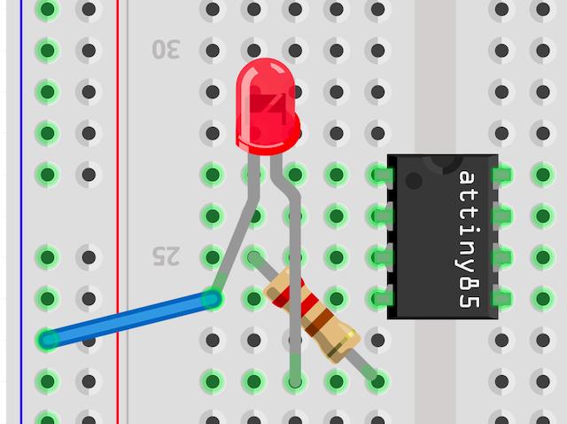 抵抗とLEDの配線イラスト